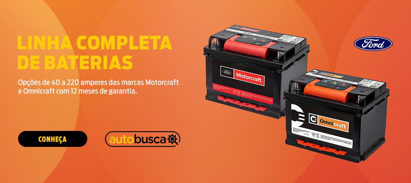 Linha completa de Baterias | Opções de 40 a 220 amperes das marcas Motorcraft e Omnicraft com 12 meses de garantia.